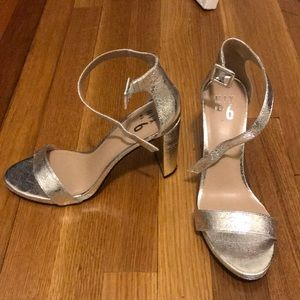 Silver metallic block heels - size 8